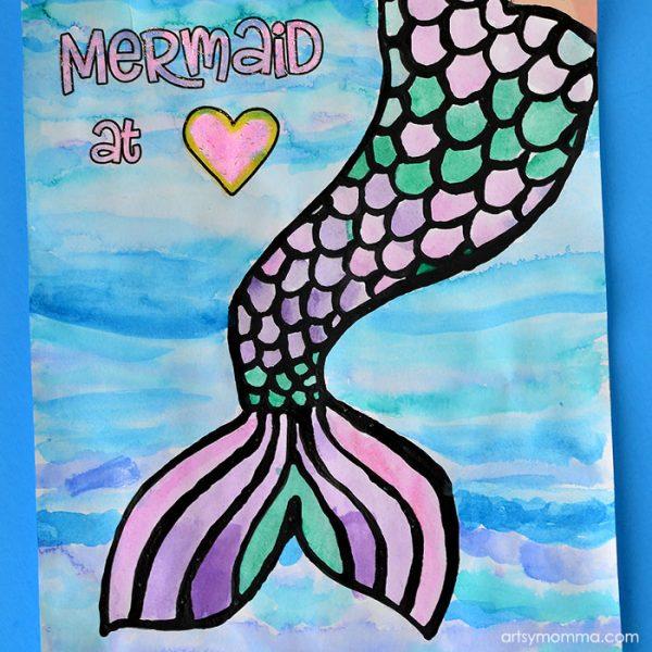 Printable Mermaid Posters: Mermaid At Heart lack Glue Craft
