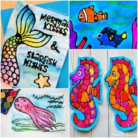Under the Sea Watercolor Art with Black Glue