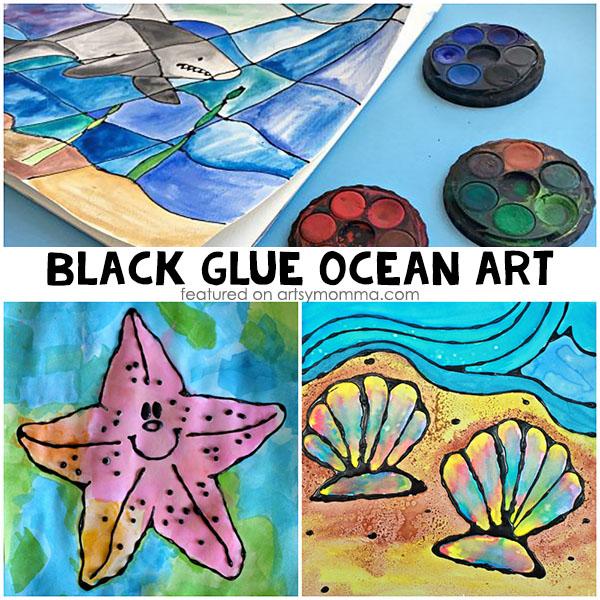 Under the Sea Black Glue Watercolor Resist Art for Kids