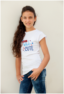 Patriotic Red, White, & Cute Graphic Tee for Girls