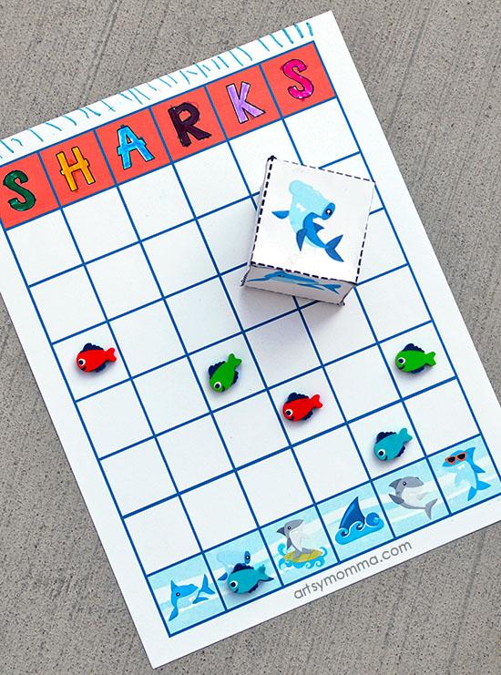 Preschool Math: Shark Theme - Graphing Printable and Dice