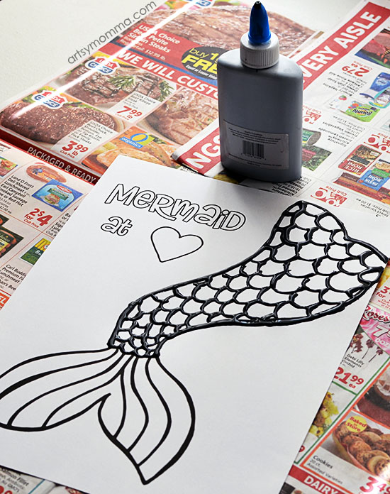Black Glue Ocean Craft: Mermaid at Heart Template