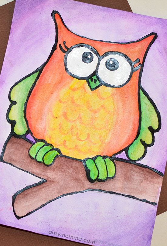 Autumn Owl Black Glue Art Project for Kids