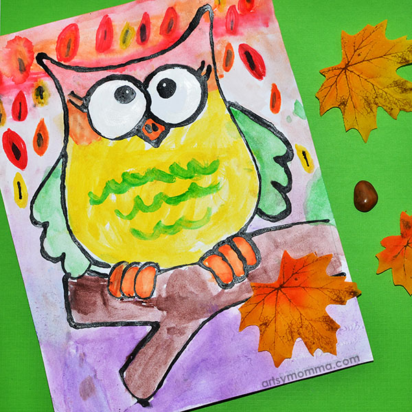 Kids Watercolor Painting: Black Glue Autmn Owl Art Project