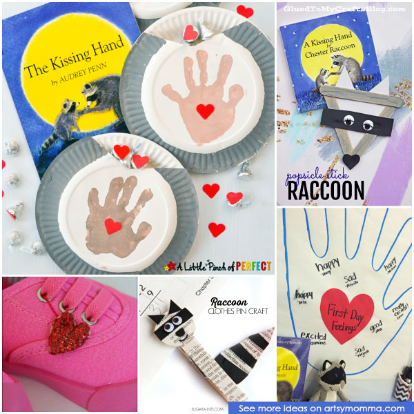 Ease 1st Day of School Anxiety with the popular kids book, The Kissing Hand. Check out this awesome list of The Kissing Hand Craft Ideas!