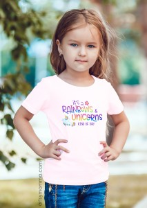 Cute Rainbows & Unicorns Graphic Tee for Girls - gift idea