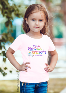 Cute Rainbows & Unicorns Graphic Tee for Girls - gift idea