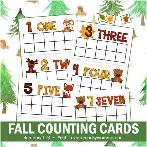Fall Math Preschool Printables: Woodland Animals & Leaf Theme