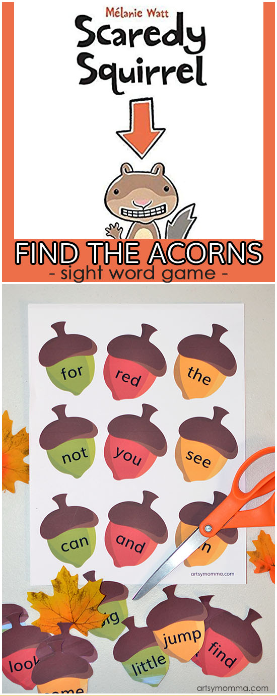 Find the Acorns Printable Sight Word Game for Preschoolers & Kindergartners - Scaredy Squirrel Book Activitie
