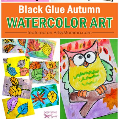 Fall Themed Watercolor Art Projects Using Black Glue