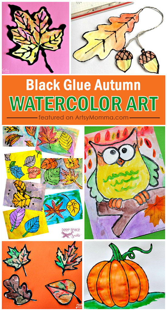 Black Glue Autumn Water Color Art Projects for Kids