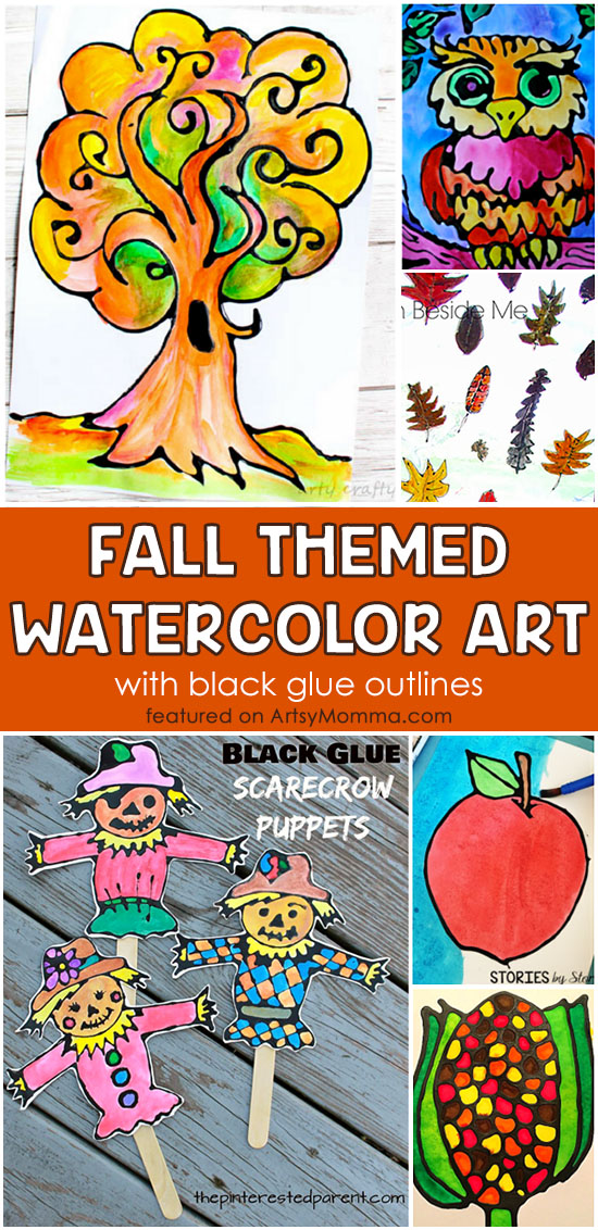 Fall Themed Watercolor Black Glue Resist Art