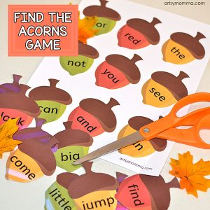 Printable Sight Words Acorn Hunt