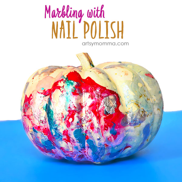 Marbling Pumpkins With Nail Polish Technique - Halloween Decorating