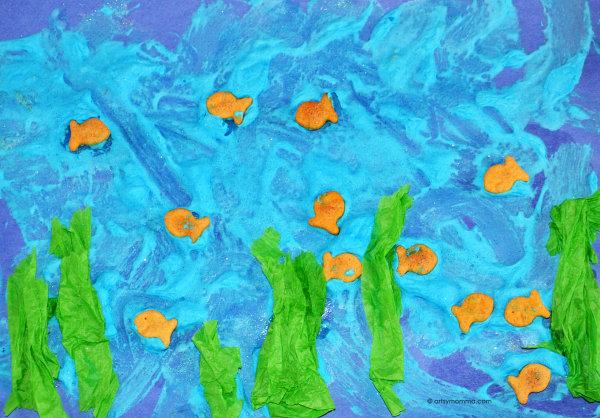 Homemade Puffy Paint with Goldfish and Tissue Paper