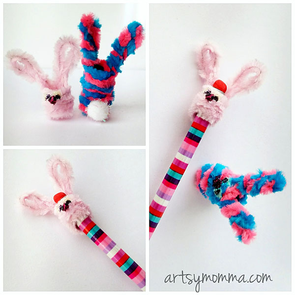 Fuzzy Pipe Cleaner Bunny Pencil Toppers