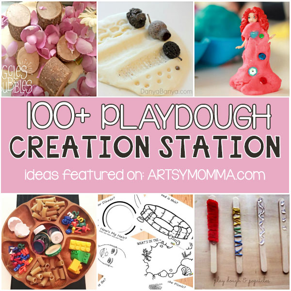 100+ Playdough Creation Stations, Play DOugh Mats, Tray Set-ups & More!