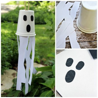 Recycled Snack Cup Windsock Ghost Halloween Decoration