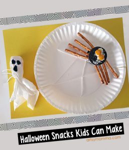 Simple Halloween Snacks Kids Can Make: Ghost Lollipop and OreoSpider with Pretzel Legs