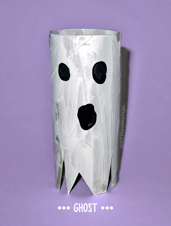 Easy Cardboard Tube Ghost - Kids Halloween Craft Idea