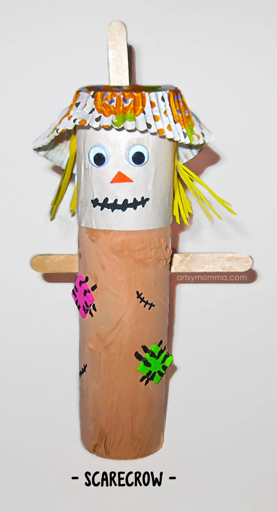 Recycled Cardboard Tube Scarecrow Craft for Fall