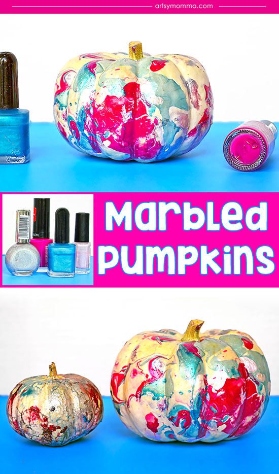 How to marble pumpkins with nail polish