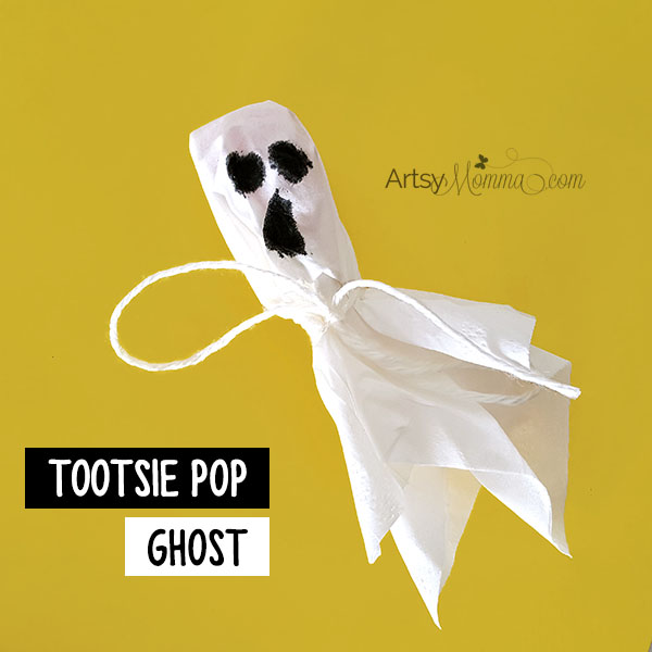 Make Tootsie Pops Ghosts for classmates, party, or a Halloween & Fall festival with kids