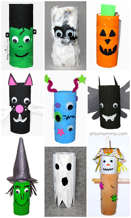 Recycled Toilet Paper Tube Halloween Characters: Black Cat, Witch, Monster, Mummy, Bat, Scarecrow, Ghost, Frankenstein, & Jack-o-lantern Crafts