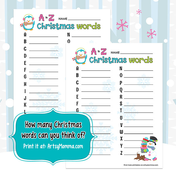 Christmas Words A Z.A To Z Christmas Words Worksheet And Game Idea Artsy Momma