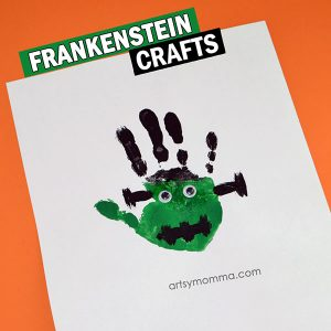 Handprint Frankenstein Preschool Halloween Craft