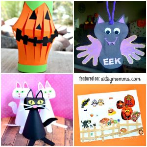 Kids Halloween Paper Craft Ideas: Jack-o-lantern, Handprint Bat, Collage Art, Paper Cats