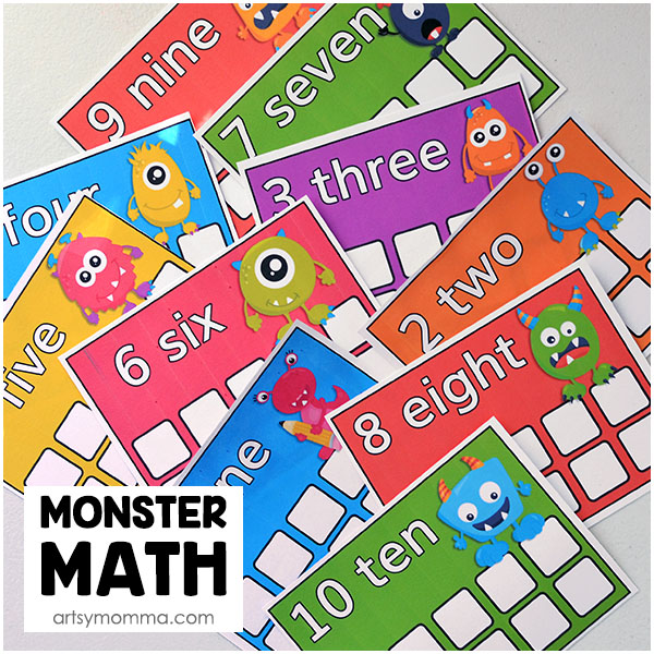 Monster Mini Eraser Ten Frames Printable Math Activity