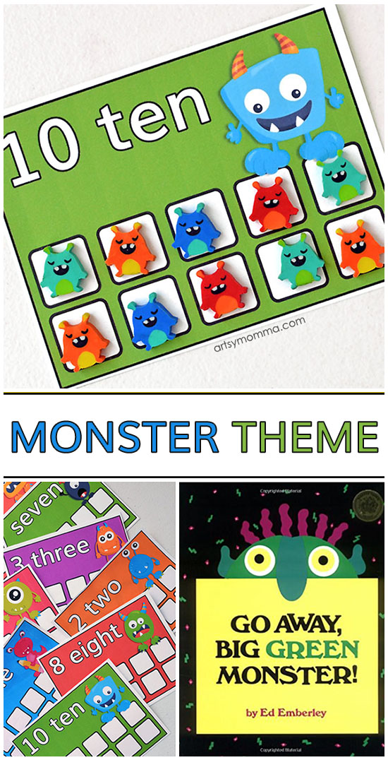 Preschool Monster Theme: Mini Eraser Math Counting Cards