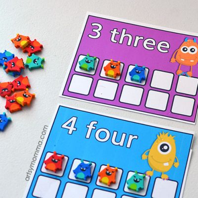 Mini Eraser Monster Counting Cards for Preschool Math Activity
