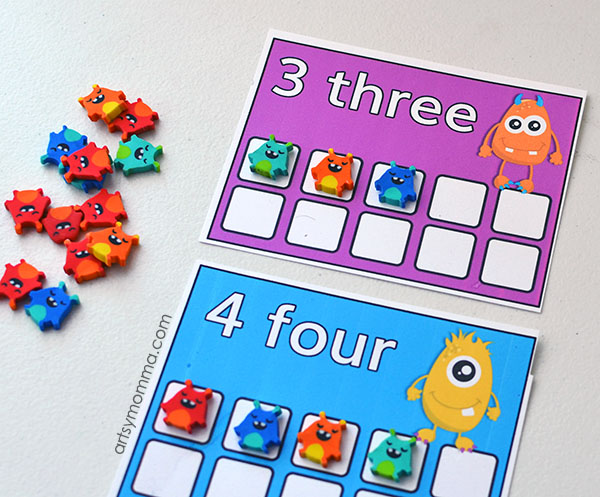 Monster Mini Erasers Count to Ten Printable Cards