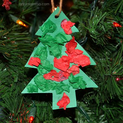 Easy Tissue Paper Christmas Tree Shaped Ornament Craft