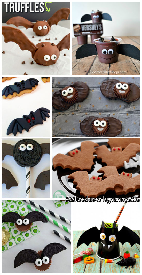 Cute ways to make Vampire Bat Treats for Halloween Parties