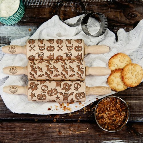 Halloween Rolling Pins with patterns for creating designs on cookies, cake, etc.