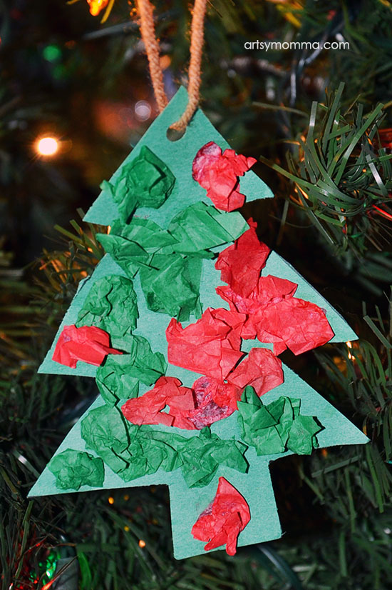 Simple Tissue Paper Christmas Tree Shaped Ornament Craft for Kids or as a Classroom Christmas Craft Idea