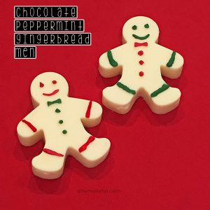Recipe tutorial for creating gingerbread man Christmas desert using peppermint and chocolate. Yum!