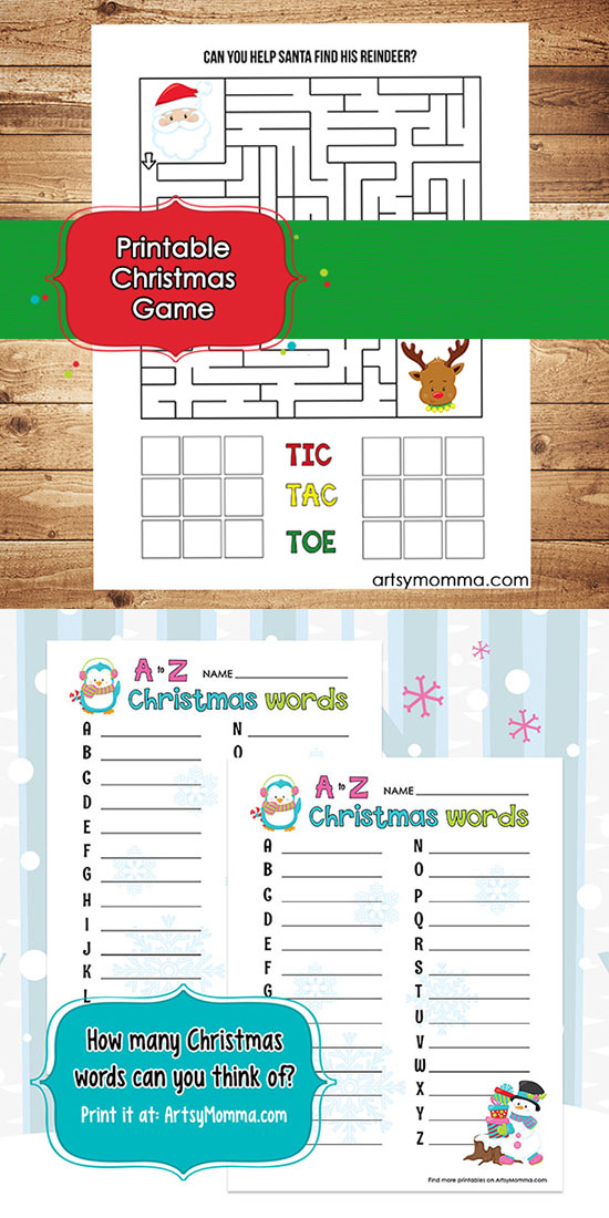 Christmas Words A Z.Printable Christmas Games For Elementary Ages Maze Tic
