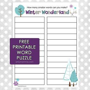 'Winter Wonderland' How Many Words Can You Make Worksheet