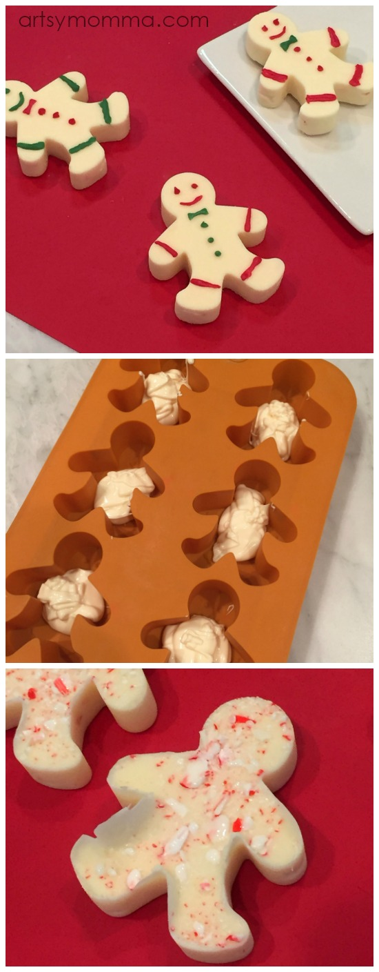 Easy Peppermint Candy Christmas Treats Recipe Tutorial Using a Gingerbread Man Silcone Mold