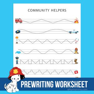 Printable Community Helpers Prewriting Worksheet for Preschoolers