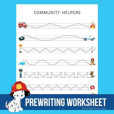 Printable Community Workers Worksheet for Preschool Ages to Practice Prewriting