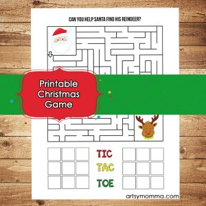 Printable Christmas Games for Elementary Aged Children: Maze & Tic Tac Toe