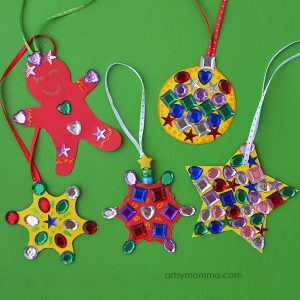 DIY Jeweled Rainbow Ornaments Christmas Craft Activity for Kids