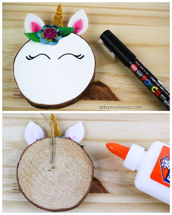 DIY Wood Slice Unicorn Christmas Ornament
