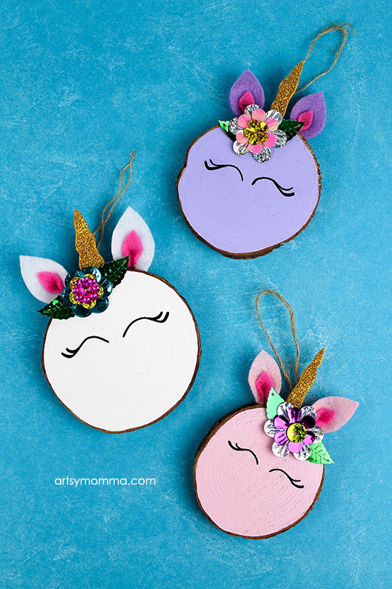 Darling Handmade Wood Slice Unicorn Ornament Tutorial - These make the cutest gift idea!
