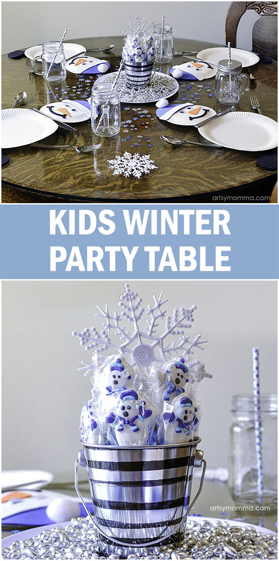 Kids Paper Plate Snowman Place Setting - Winter Party Ideas